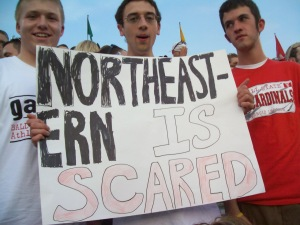 Me in the middle proud of my crappy sign. Who cares! It's college football baby!