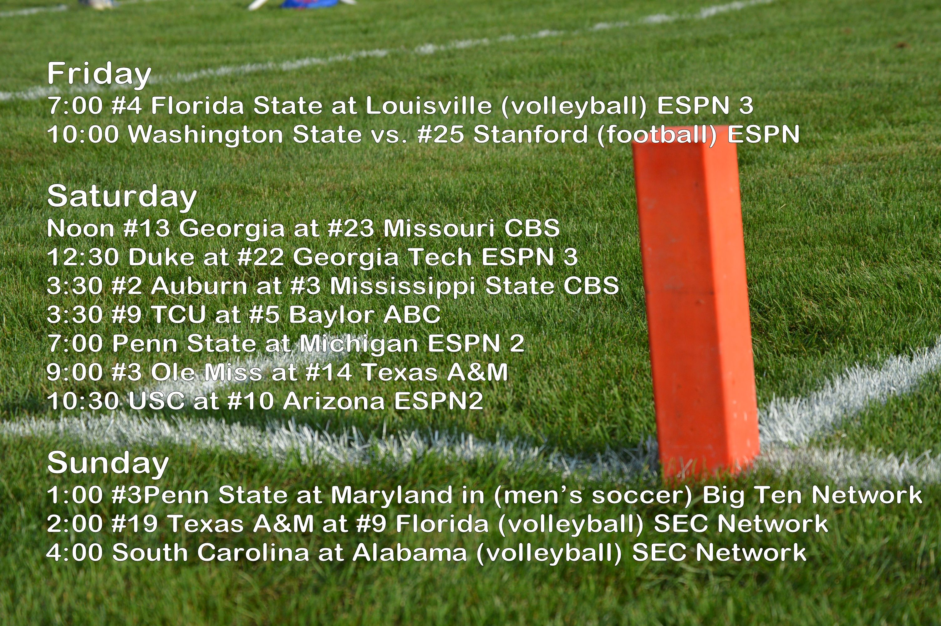 college football schedule for tomorrow college gameday time